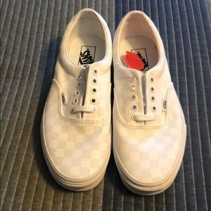 Men's White Checker Vans